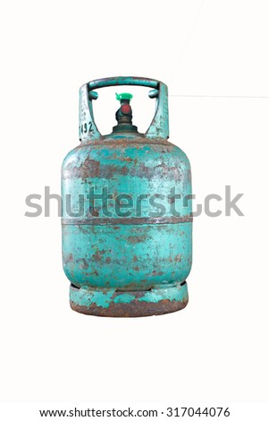 Old cooking gas cylinder on white background - stock photo