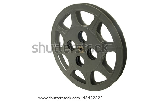 Old empty film reel isolated on white