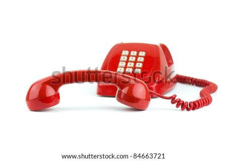 1970 -1980 old fashioned digital telephone isolated on white - stock photo