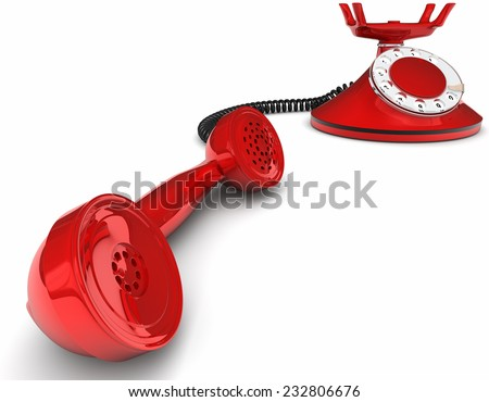 Old-fashioned telephone isolated on white