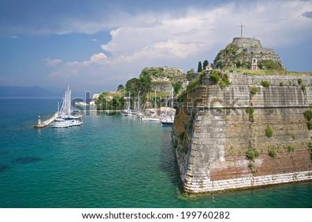 Old Fortress and Marina in Corfu, Corfu Island, Kerkyra, Greece  - stock photo