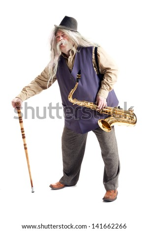 Old hippies saxophonist with a cane