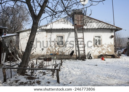 Old house and winter weather, Ukraine