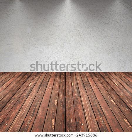 old interior with concrete wall and brown stained wooden floor with lights on the wall