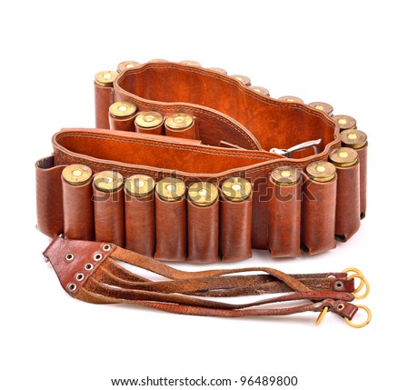 Old leather bandolier on a white background - stock photo