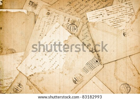 Old letters and envelope as a background - stock photo