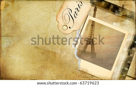 old photo-album  - vintage cards series Paris - stock photo