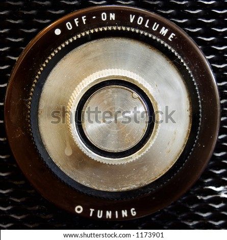 old radio knob - stock photo