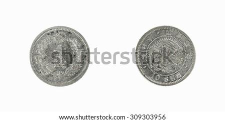 old silver coin Japan  10 sen  1878 - stock photo