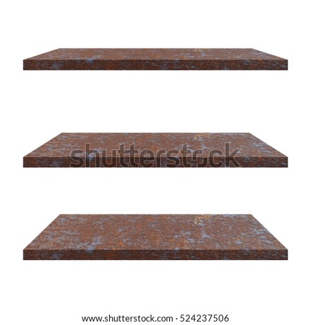 3 Old Steel iron Shelves Table isolated on white background