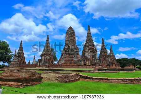 old Temple wat Chaiwatthanaram of Ayuthaya Province Thailand - stock photo