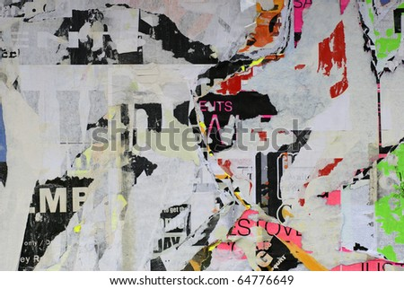 old torn posters - stock photo