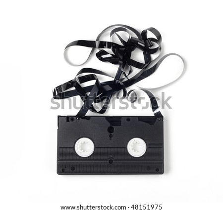 Old unusable vhs cassette - stock photo