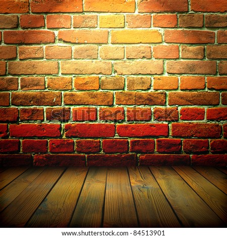 old wall and floor. There is an empty seat for design - stock photo