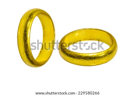 old wedding rings isolate on white background - stock photo