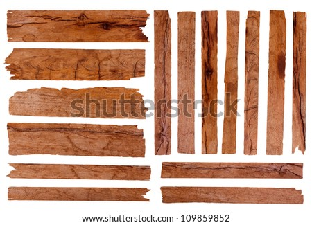Old wood plank, isolated on white background (Save Paths For design work) - stock photo