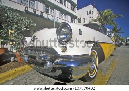 1954 Oldsmobile parked in south beach, Miami Beach, Florida - stock photo