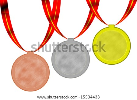 3 Olimpic medals gold silver bronze wirh red ribbons