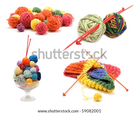 ?ollage varicoloured ball for knitting on white background. It Is formed from several pictures. - stock photo