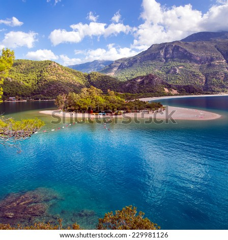 Oludeniz is one of the most famous beach in Turkey  - stock photo