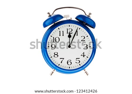 11:55 on a clock. decision time - stock photo