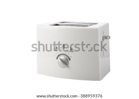 On a white background toaster