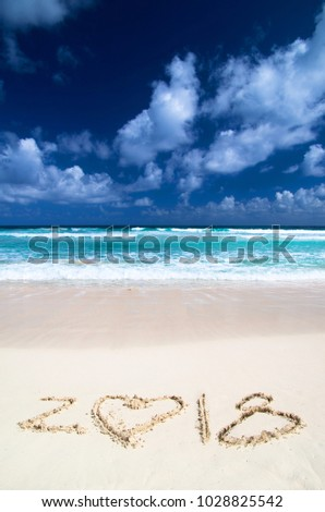 2018 on beach - concept holiday background