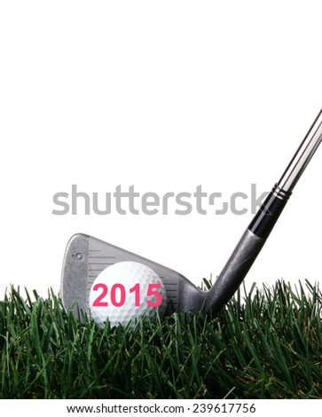 2015 on Golf ball.  - stock photo