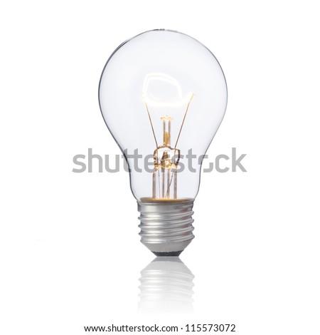 """ON"" light bulb isolated on white - stock photo"