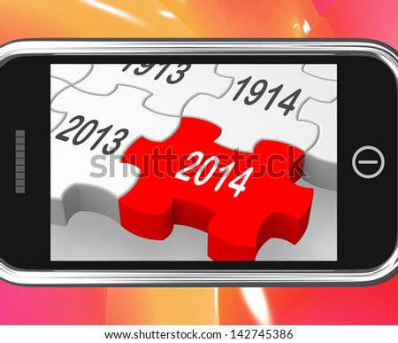 2014 On Smartphone Showing Forecasts And Predictions - stock photo