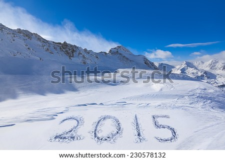 2015 on snow at mountains - Hochgurgl Austria - nature and sport background - stock photo