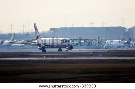 757 on taxi way. - stock photo