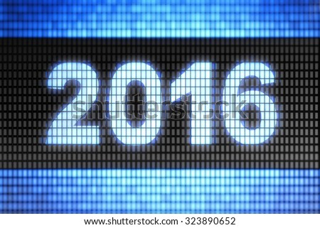 """2016"" on the screen - stock photo"