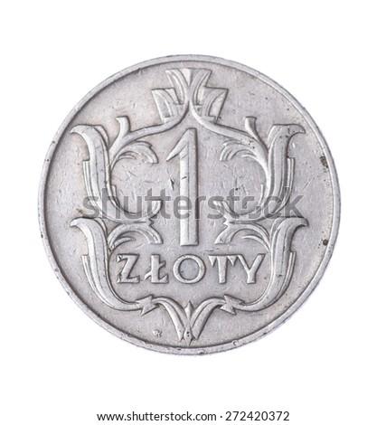one Polish zloty isolated on white background - stock photo