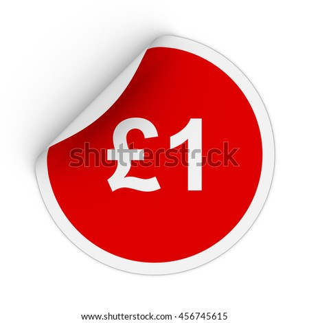 1 One Pound Red Circle Sticker Stock Illustration 456745615