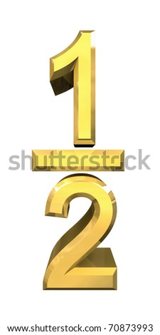 1/2 one quarter in gold - 3D made - stock photo