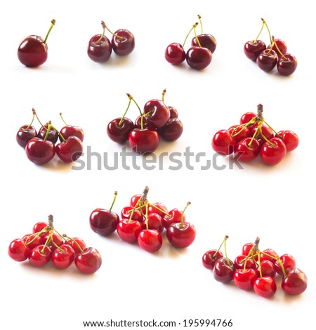 One to ten count. Collection of Cherries isolated on white - stock photo