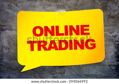 """online trading"" in the yellow banner textural background. Design template. - stock photo"