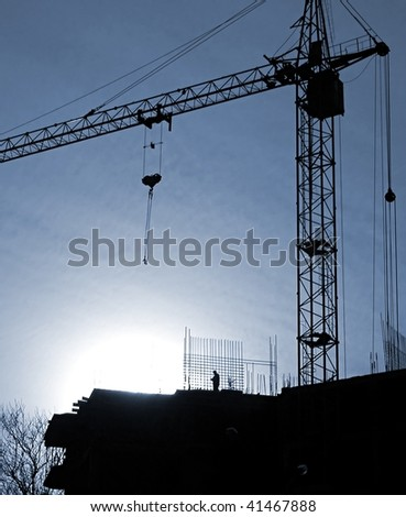 ?onstruction activity. Silhouette of construction worker