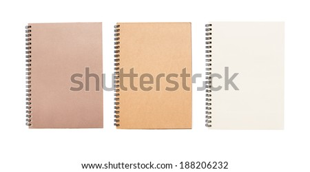 4 open blank books notebook graph memory. On white background.
