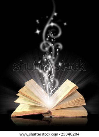 Open book magic on black - stock photo