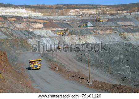 open-cast mine of iron ore - stock photo