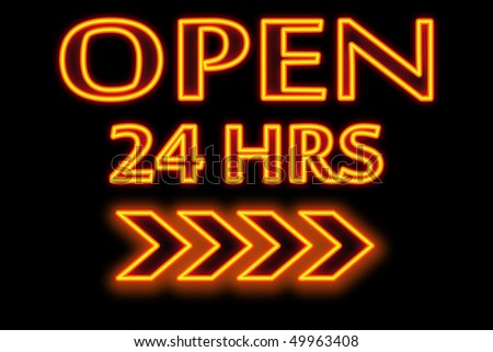 """Open 24 hours "" words in neon and black background - stock photo"