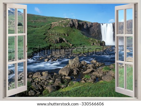 Open window view to river with waterfall  in sunny summer day, Iceland - stock photo