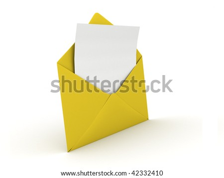 opened yellow envelope with empty blank in it - stock photo