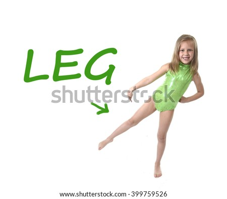 6 or 7 years old little girl with blond hair and blue eyes smiling happy posing isolated on white background pointing leg  in learning English language school education body parts card set