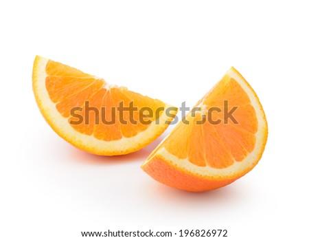 orange slice isolated on nwhite background - stock photo
