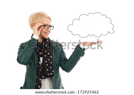 Ordinary woman in casual outfit with empty cloud with copy space - stock photo
