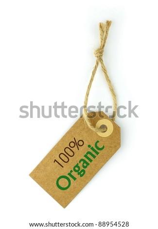 100% Organic Label - stock photo