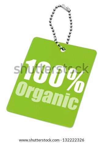 100% organic label isolated on pure white background - stock photo